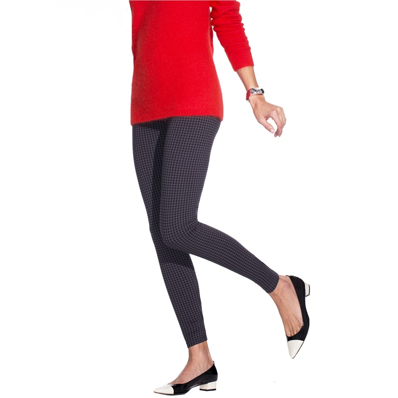 Houndstooth cotton leggings (ng1702), no nonsense cotton leggings for women