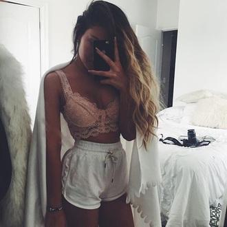 top bralette lace top shorts white drawstring
