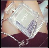 bag,chanel,see through,transparent  bag,perfume,paris,chain