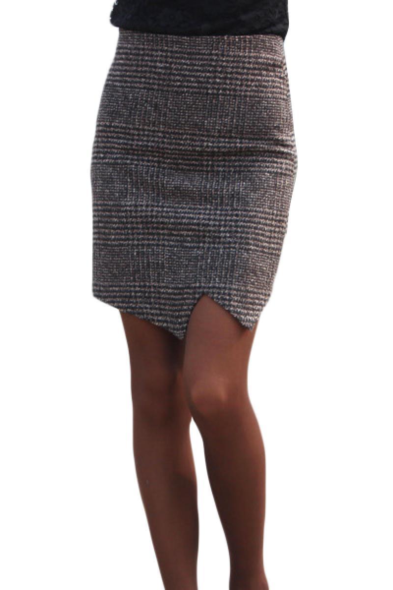 2014 New Dovetail Split Swallow Grid Skinny Skirt,Cheap in Wendybox.com