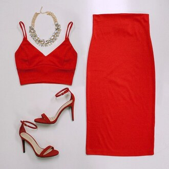 top crop tops red red dress skirt red skirt bralette bra red heels necklace date dress date outfit gojane