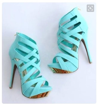 shoes heels turquoise blue gold