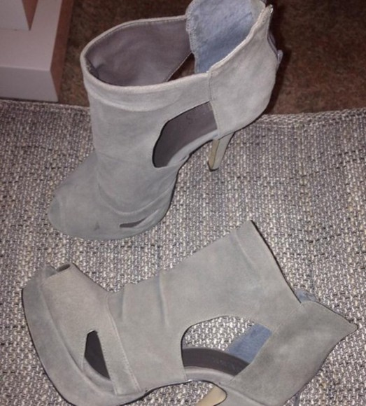 shoes high heels peep toe guess grey