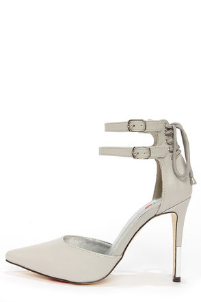 Luichiny Dark Sky Light Grey Lace-Back Pointed Heels