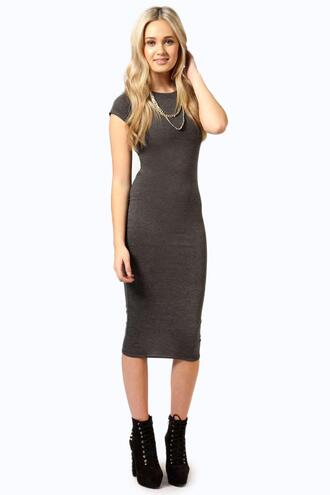 dress midi dress boohoo dress grey dress jersey dress