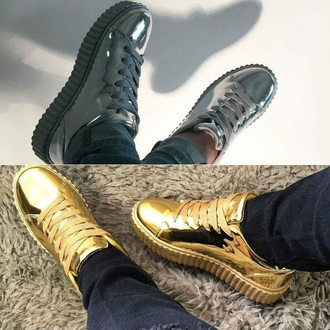 shoes gold silver lace up platform shoes sneakers