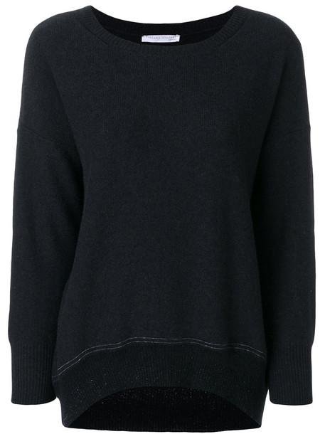 Fabiana Filippi - round neck jumper - women - Silk/Cashmere/Merino - 44, Black, Silk/Cashmere/Merino