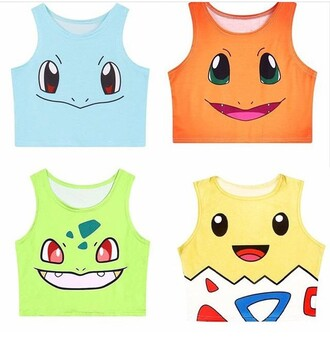 shirt crop tops pokemon cartoon t-shirt anime top colorful blue orange yellow pink
