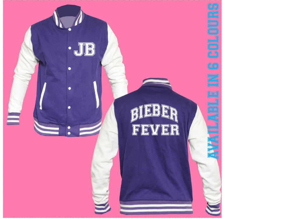 JUSTIN BIEBER FEVER JB GIRLFRIEND LETTERMAN BASEBALL VARSITY JACKET - NOT HOODIE | eBay