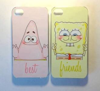 yellow phone case smile pink iphone case peace sign bff spongebob friends iphone 4 case cartoon
