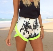 shorts,palm tree,palm tree print,playa,beachwear,fluo,yellow fluo,black,black top crop top,black blouse,tank top,black tank top,jewels,jewelry,gold jewelry,watch,gold watch,gold necklace,necklace,summer,summer outfits,clothes,high waisted,neon,fabric shorts
