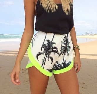shorts palm tree palm trees palm tree print playa beach wear fluo yellow fluo black black top crop top black blouse tanktop tank top black tank top jewels jewelry gold jewelry watch gold watch gold necklace necklace summer summer outfits clothes high waisted neon fabric shorts