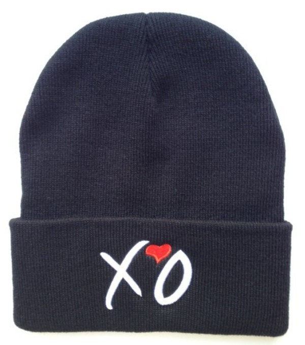 hat ovoxo xo beanie red heart black the weeknd unisex