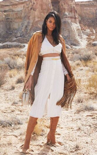 skirt midi skirt white top crop tops boots spring outfits chanel iman model off-duty instagram
