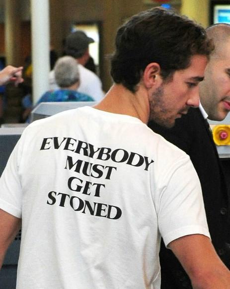 white t-shirt white shirt black text stoner stoned stoned t-shirt stoners weed shirt