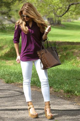polishedandpink blogger top jeans shoes bag sunglasses jewels