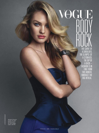 dress candice swanepoel vogue burberry ruffle navy editorial designer dress model