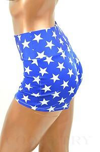 Sexy royal blue white star print high waist lycra spandex shorts coquetry