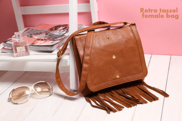 bag brown bag cross body bag fringed bag