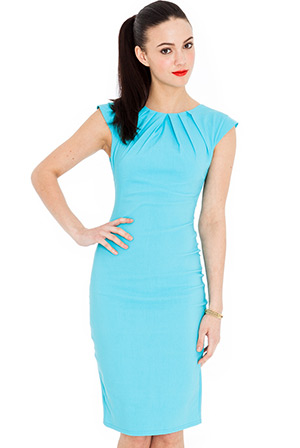 Pleated Neckline Cap Sleeve Bengaline Dress in the style of Kim Kardashian