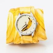 jewels,watch,banana watch,yellow,banana print,designer watch,unusual watch,unique watch,funny watch,soft watch,cotton strap,ziz watch,ziziztime
