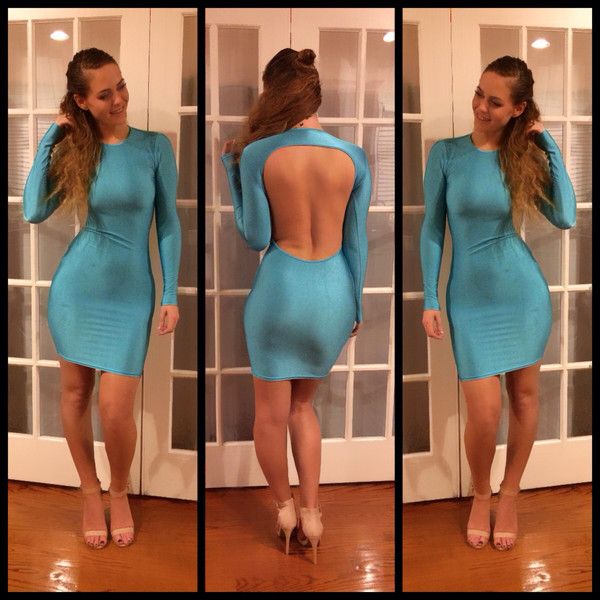 lethalbeauty ? Backless long-sleeve bodycon dress