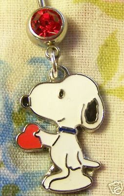~oligo's~ valentine snoopy with love heart belly ring dangle