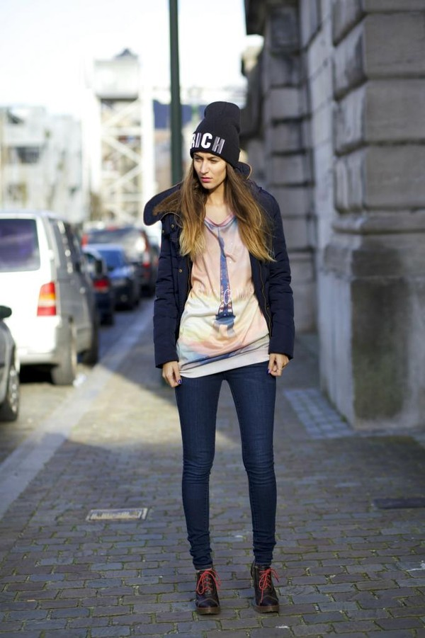 from brussels with love jeans sweater shoes jacket hat