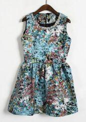 dress,floral dress,tank dress,blue,sleeveless,pearl,rhinestones