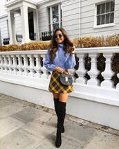 bag,crossbody bag,mini bag,mini skirt,plaid skirt,suede boots,thigh high boots,sweater,knitted sweater,turtleneck sweater,round sunglasses