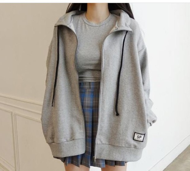 1c6fb34c848 jacket grey grey hoodie tumblr aesthetic korean fashion oversized grey  hoodie