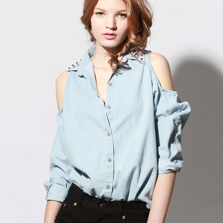 Ely cut out shoulder rivet  studded wasing denim shirt [as seen on chiara]