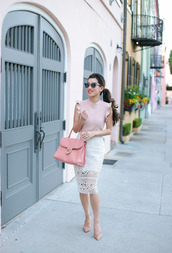 extra petite,blogger,top,skirt,sunglasses,shoes,coat,bag,pencil skirt,white skirt,pink bag,pink blouse,nude heels
