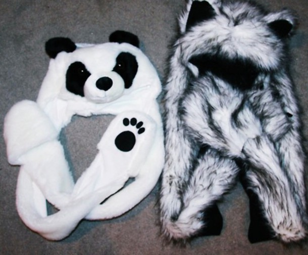 hat winter outfits black white paws