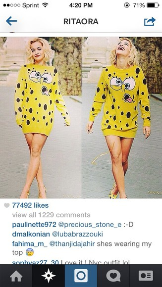 jacket rita ora oversized sweater dress spongebob