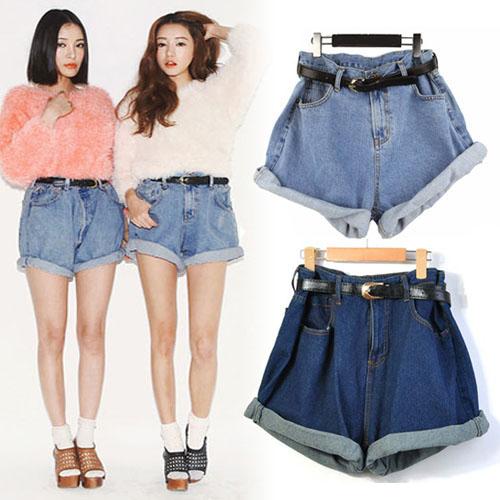 Women Girl High Waisted Oversize Crimping Boyfriend Jeans Shorts ...