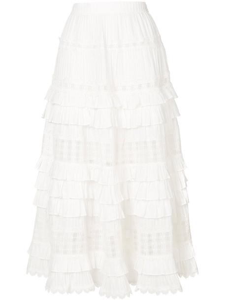 Zimmermann skirt pleated women white cotton