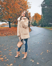 coat,tumblr,fuzzy coat,teddy bear coat,denim,jeans,blue jeans,boots,ankle boots
