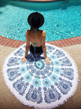 home accessory blue summer beach towel white trendy cool bikiniluxe
