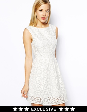 Oasis | Oasis Exclusive Floral Organza Lace Skater Dress at ASOS