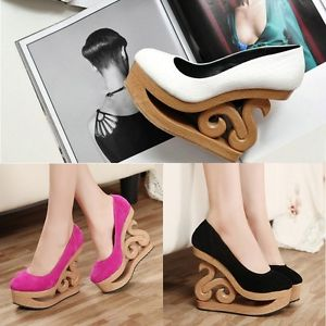 New Arrival Women's Retro Unique Hollow Out Wooden Wedge Heel High Heels Shoes | eBay
