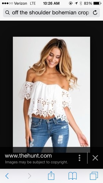 belt white top boho chic off the shoulder top white crop tops