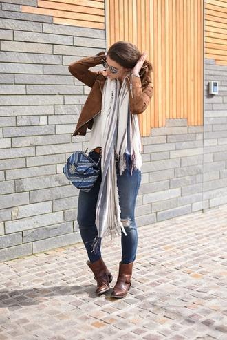 thank fifi blogger bag scarf tank top jeans belt shoes