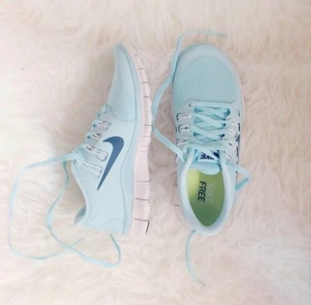 shoes pastel sneakers light blue nike free run running. Black Bedroom Furniture Sets. Home Design Ideas