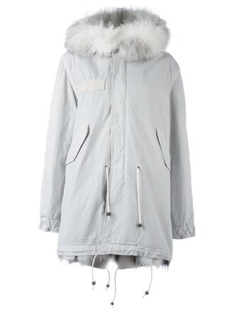 coat parka fur fox women cotton grey
