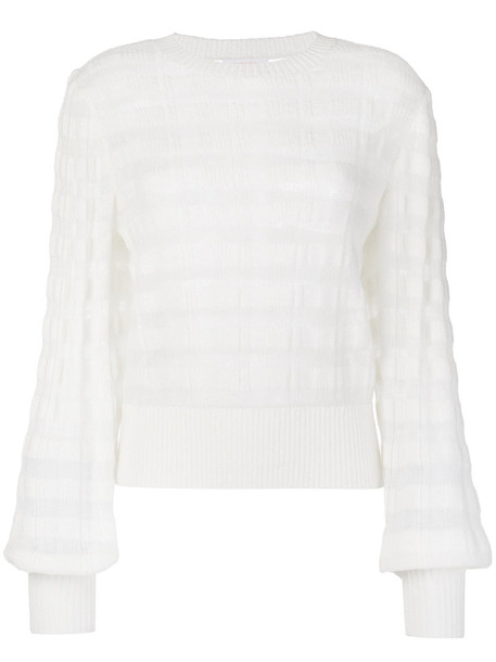 See by Chloe sweater striped sweater sheer women mohair white