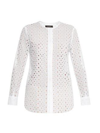 shirt cut-out cotton white top