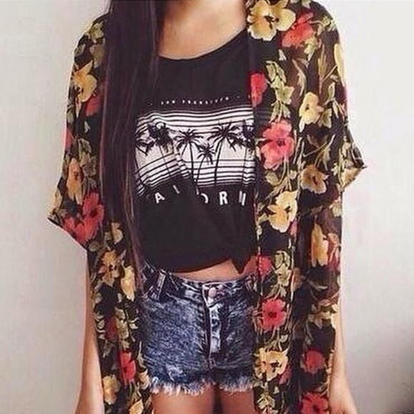 t-shirt floral fashion jeans california cardigan summer outfits summer shorts shorts denim shorts denim kimono