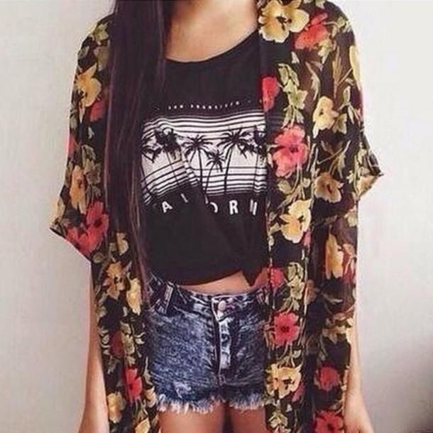 shorts cardigan tshirt summer outfits fashion floral