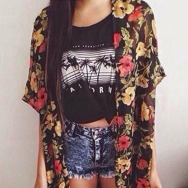 cardigan t-shirt summer outfits fashion floral summer shorts shorts denim shorts jeans denim california kimono